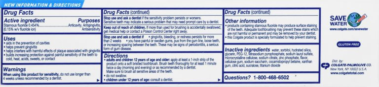 Colgate Total SF Clean Mint Toothpaste Drug Facts Label