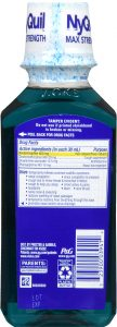 NyQuil VapoCOOL Severe Cold & Flu + Congestion Drug Facts Label